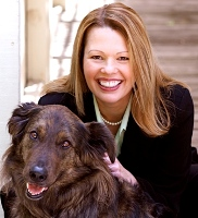 Melanie Rembrandt, content strategy expert, with rescue dog Charlie